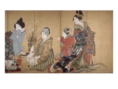 Paravent ? huit volets : Neuf femmes jouant au jeu du renard-Katsushika Hokusai-Giclee Print