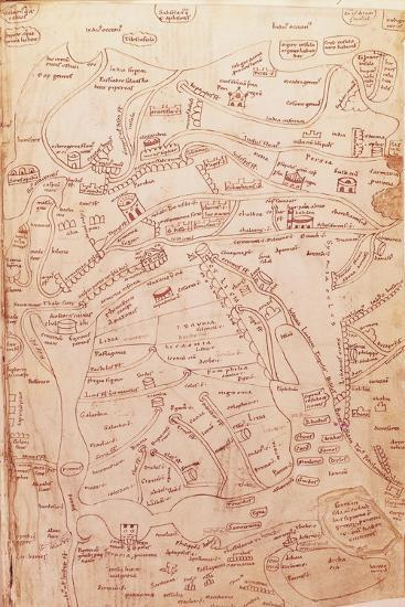 Parchment Map Representing the Holy Land and Adjacent Regions--Giclee Print