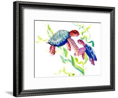 Parent And Child Turtles-Suren Nersisyan-Framed Art Print