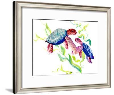 Parent And Child Turtles-Suren Nersisyan-Framed Art Print