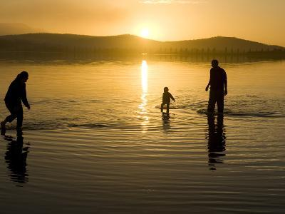 Parents and Child Walk in Shallow Water at Cremorne Beach at Sunset-Bill Hatcher-Photographic Print