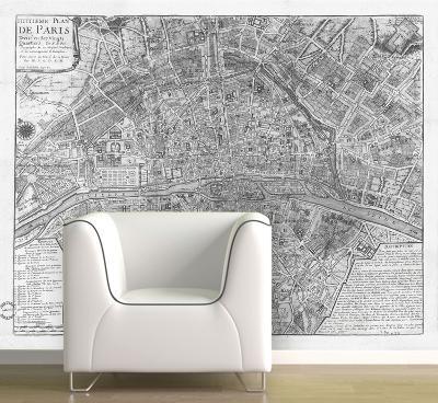 Paris - 1705 Map of Paris - Black & White Self-Adhesive Wallpaper--Home Accessories