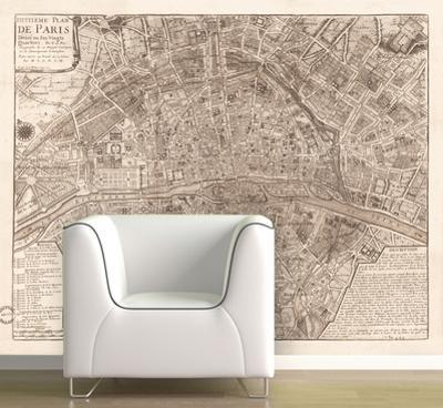 Paris - 1705 Map of Paris - Sepia Self-Adhesive Wallpaper