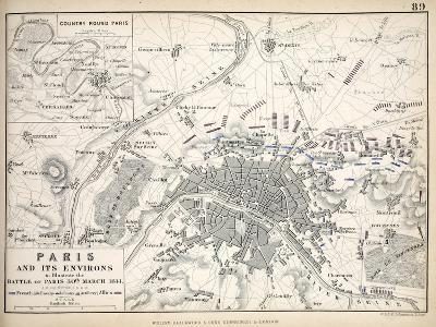 Paris and it's Environs, to Illustrate the Battle of Paris, 30th March, 1814, Published C.1830s-Alexander Keith Johnston-Giclee Print
