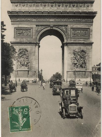 Paris: Arc De Triomphe with Early Cars--Photographic Print