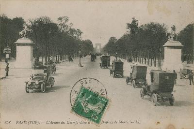 Paris - Avenue des Champs-Elysees. Postcard Sent in 1913-French Photographer-Giclee Print