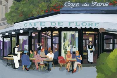 Paris cafe and garcon and guests,2015-Hiroyuki Izutsu-Premium Giclee Print