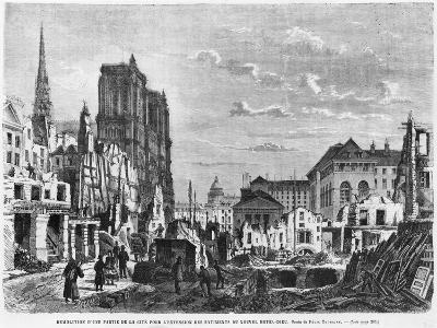 Paris, Demolition of a Part of Cite to Extend the Buildings of New Hotel-Dieu, Engraved Barbant-Felix Thorigny-Giclee Print