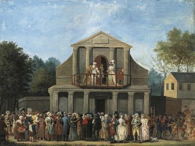 Paris, Farcical Scene in Front of Saint-Laurent Fair Theatre by Unknown Artist--Giclee Print