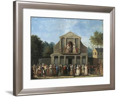 Paris, Farcical Scene in Front of Saint-Laurent Fair Theatre by Unknown Artist--Framed Giclee Print