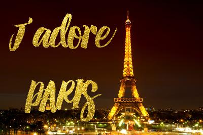 Paris Fashion Series - J'adore Paris - Eiffel Tower at Night X-Philippe Hugonnard-Photographic Print
