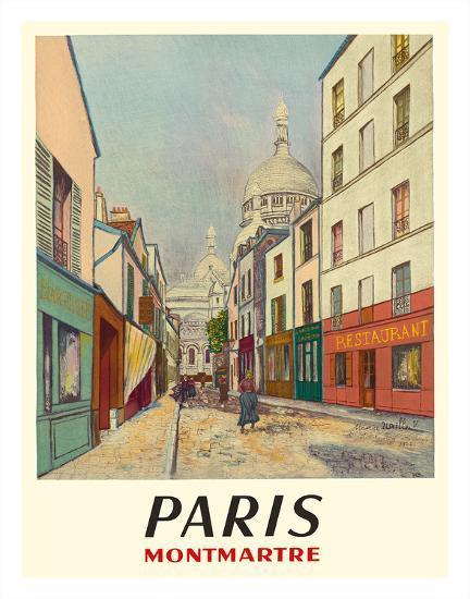 Paris, France - Butte Montmartre - Basilica of the Sacré-Cœur - Rue du Chevalier de la Barre-Maurice Utrillo-Giclee Print