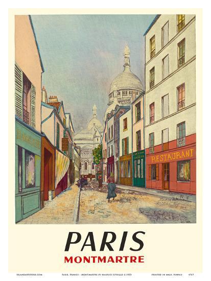 Paris, France - Butte Montmartre - Basilica of the Sacré-Cœur - Rue du Chevalier de la Barre-Maurice Utrillo-Art Print