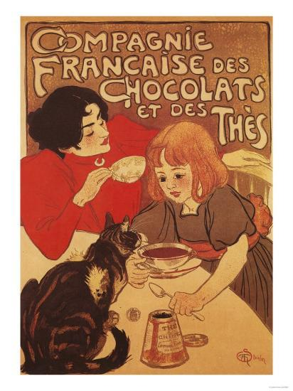Paris, France - Chocolate and Tea Co Mother and Daughter Promo Poster-Lantern Press-Art Print