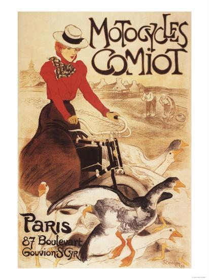Paris, France - Comiot Motocycles Woman and Geese Promo Poster-Lantern Press-Art Print
