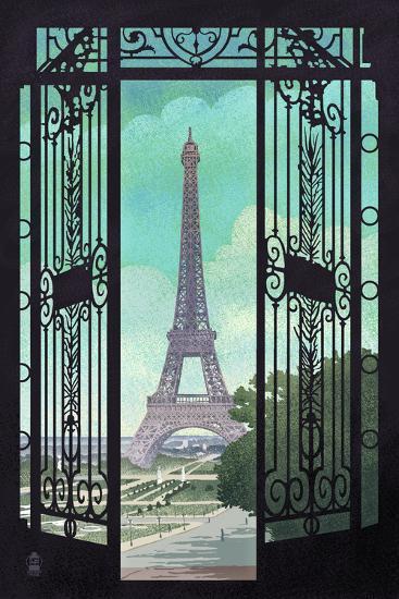 Paris, France - Eiffel Tower and Gate Lithograph Style-Lantern Press-Art Print