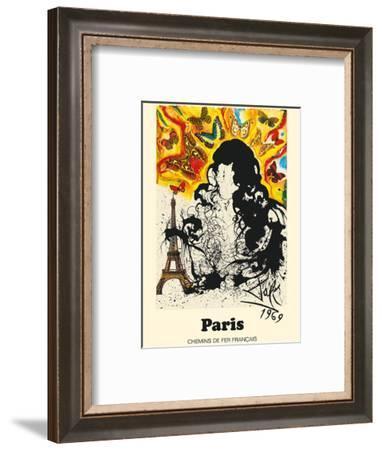 Paris, France - Eiffel Tower - Chemins De Fer Francais (French National Railroads)-Salvador Dali-Framed Art Print