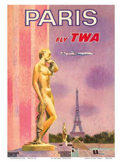 Paris, France - Fly TWA (Trans World Airlines)-David Klein-Art Print