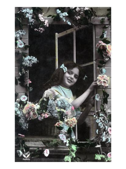 Paris, France - Little Girl at Window with Flowers-Lantern Press-Art Print