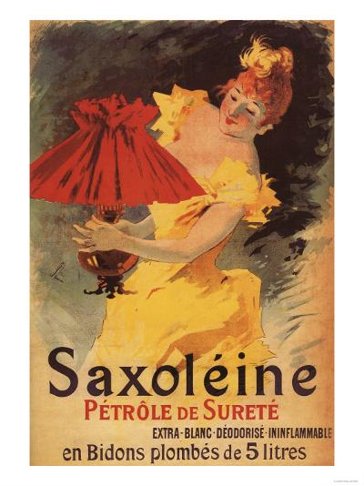 Paris, France - Saxoleine Lamp Oil Red Lampshade Promotional Poster-Lantern Press-Art Print