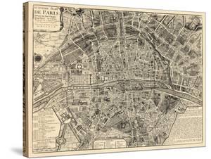 Paris, France, Vintage Map