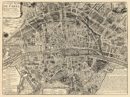 Paris, France, Vintage Map--Giclee Print