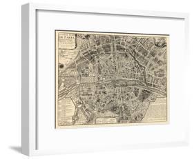 Paris, France, Vintage Map-null-Framed Giclee Print