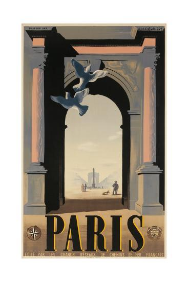 Paris, French Travel Poster, Arch--Giclee Print