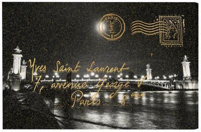 Paris Gold Letter Metallic Threaded Canvas