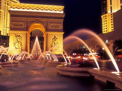 Paris Hotel and Casino Fountains in Front of L'Arc de Triumph Replica, Las Vegas, Nevada, USA-Brent Bergherm-Photographic Print