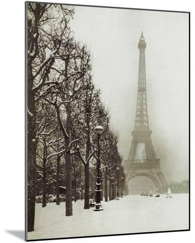 Paris In The Snow (Eiffel Tower) Art Poster Print--Mounted Print