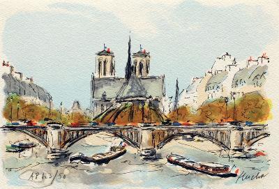 Paris, L'Abside de Notre Dame-Urbain Huchet-Collectable Print