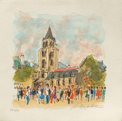 Paris, L'?gIIse Saint Germain Des Pr?s-Urbain Huchet-Collectable Print