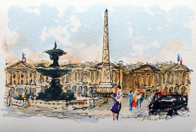 Paris, La Place De La Concorde-Urbain Huchet-Collectable Print
