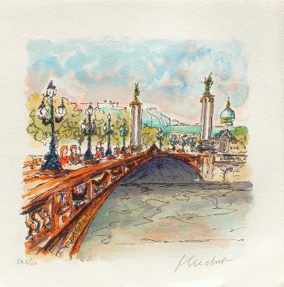 Paris, Le Pont Alexandre III-Urbain Huchet-Collectable Print