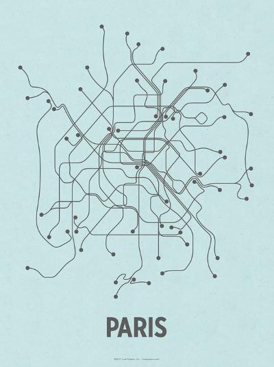 Paris (Light Blue & Dark Gray)-LinePosters-Serigraph