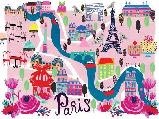 Paris Map-Rachael Schafer-Art Print