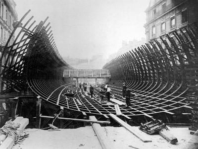Paris Metro at Place Saint-Michel: Caisson Prior to Its Being Placed in the River Seine, c.1906--Photographic Print