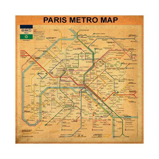 Paris Metro Map Printable.Paris Metro Map Orange Giclee Print By Bill Cannon Art Com