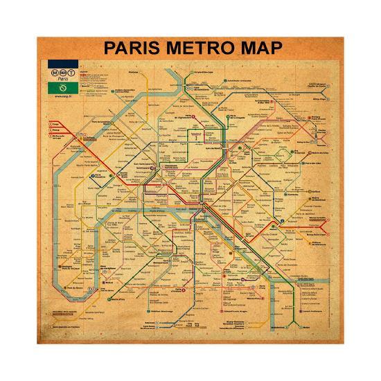 Paris Metro Map Orange Giclee Print By Bill Cannon Art Com