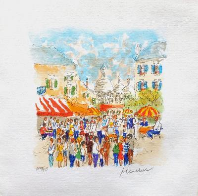 Paris, Montmartre La Place Du Tertre ?-Urbain Huchet-Collectable Print