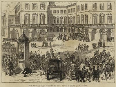 Paris Municipal Guard Dispersing the Crowd at the St Lazare Railway Station--Giclee Print