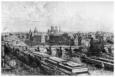 Paris Pris Du Louvre, C1850-1895-Maxime Lalanne-Giclee Print