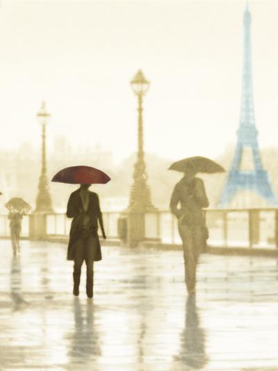 Paris Red Umbrella - Golden-Robert Canady-Giclee Print
