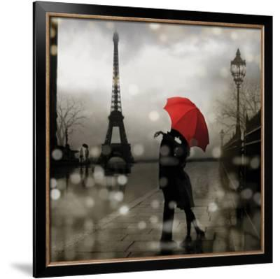 ROMANTIC ART PRINT Paris Romance by Kate Carrigan 28x28 Eiffel Tower Kiss Poster