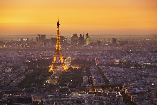 Paris Skyline at Sunset with the Eiffel Tower and La Defense, Paris, France, Europe-Neale Clark-Photographic Print