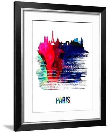 Paris Skyline Brush Stroke - Watercolor-NaxArt-Framed Art Print