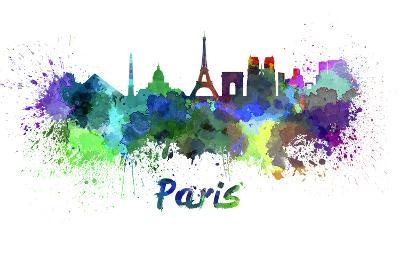 Paris Skyline in Watercolor-paulrommer-Art Print