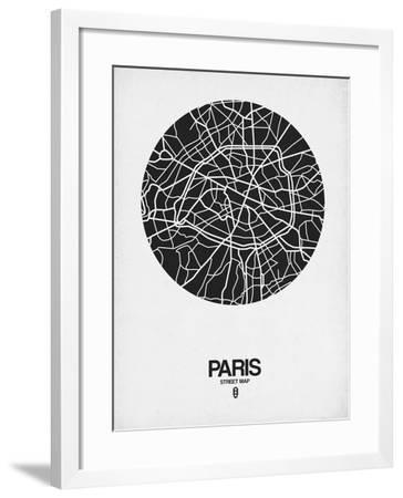 Paris Street Map Black on White-NaxArt-Framed Art Print