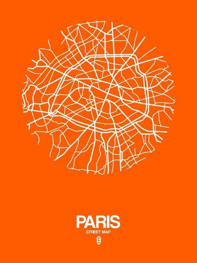 Paris Street Map Orange-NaxArt-Art Print